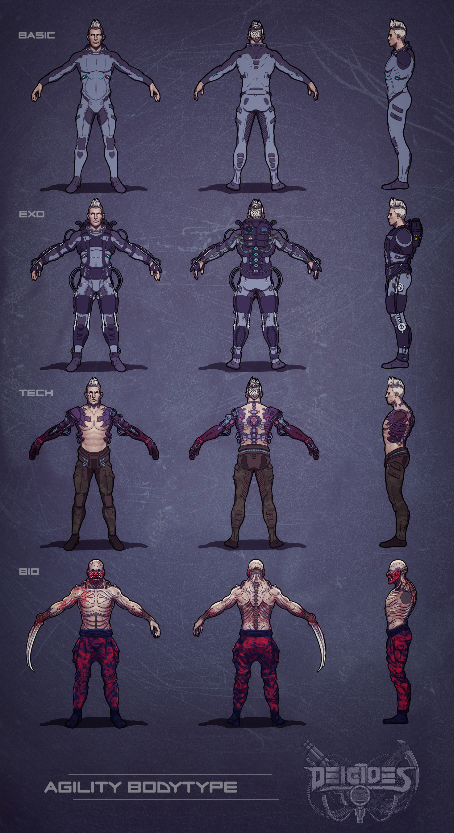 Agility body type comparison - Basic , exoskeleton , tech and bio version. equipment not included.