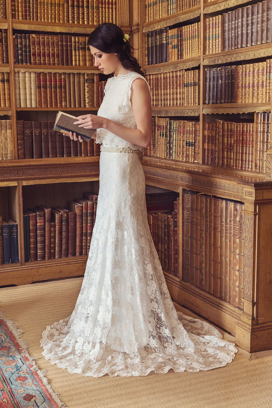 Holker bride in library.jpg