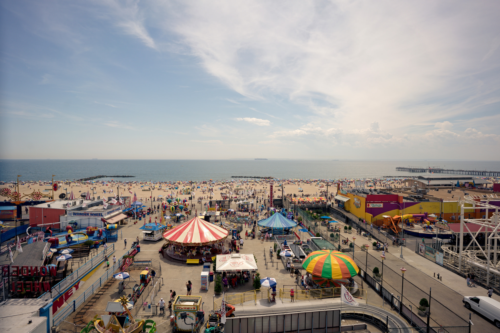 (Sony ILCE-7RM2 + Zeiss Batis 18mm f/2.8) ISO 100 - A view of Coney Island at 18mm from the top of the Wonder Wheel