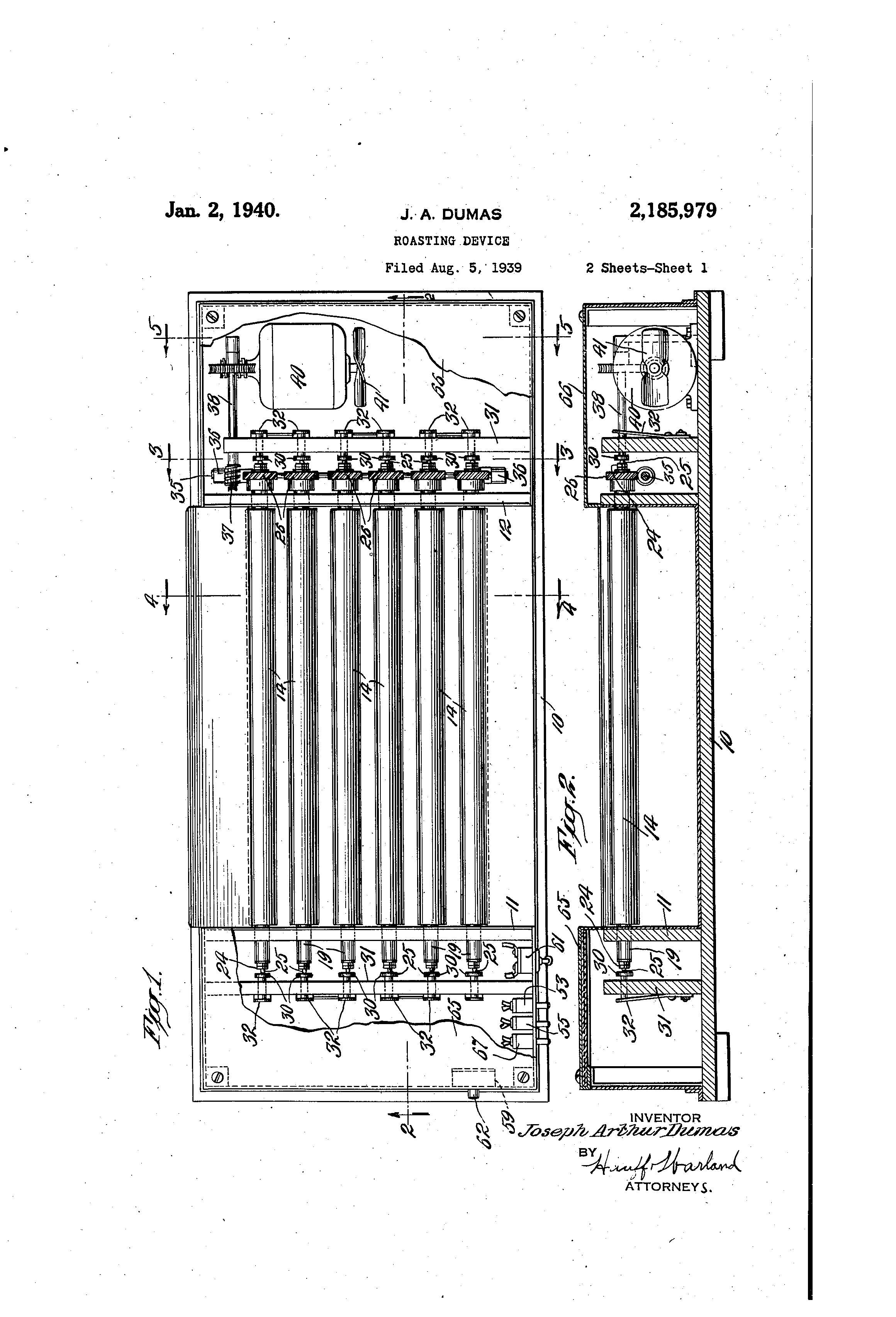 Roasting Device US 2185979 A; source Google Patents
