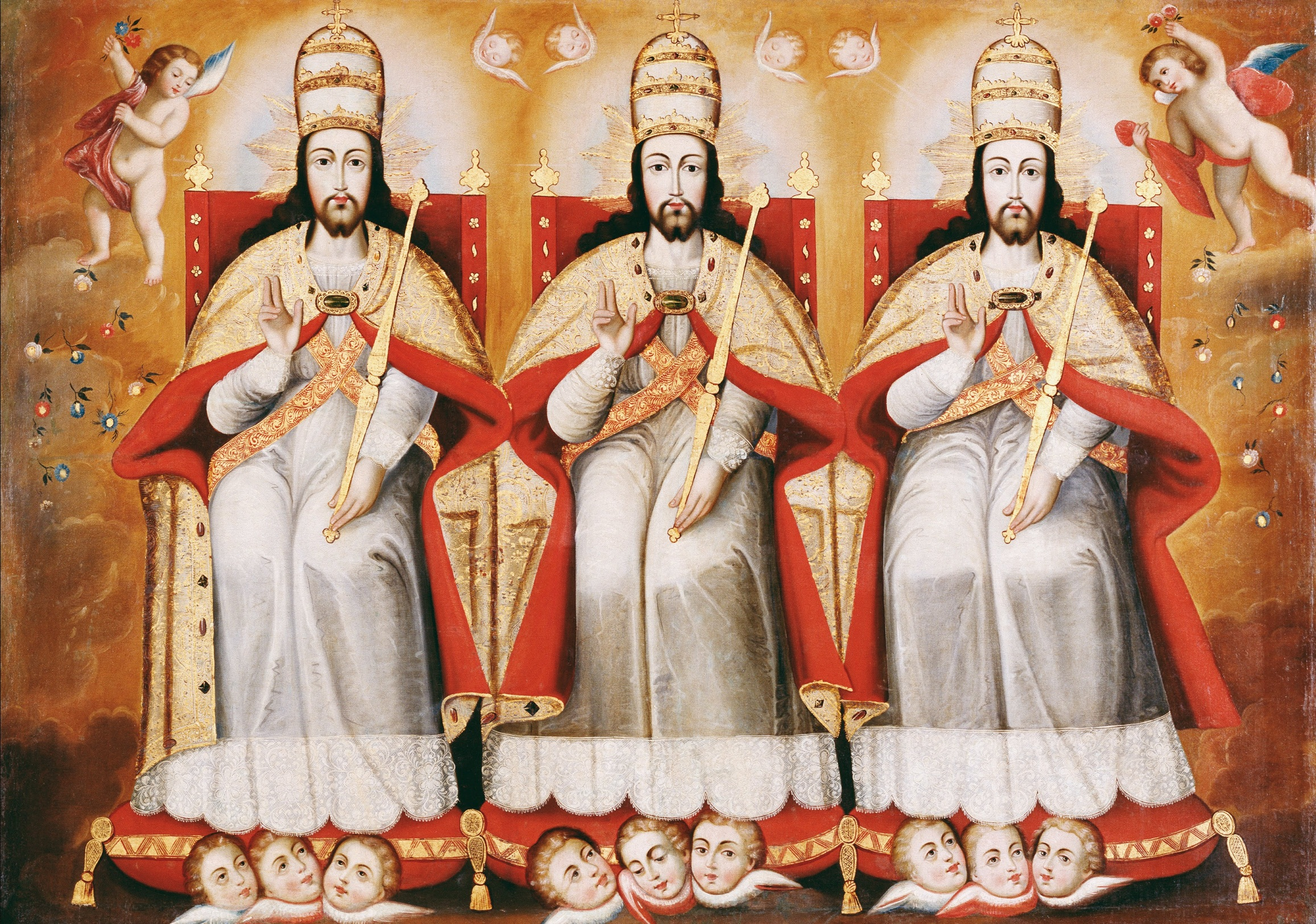 "Cuzco School, ""The Enthroned Trinity"" (c. 1730))"