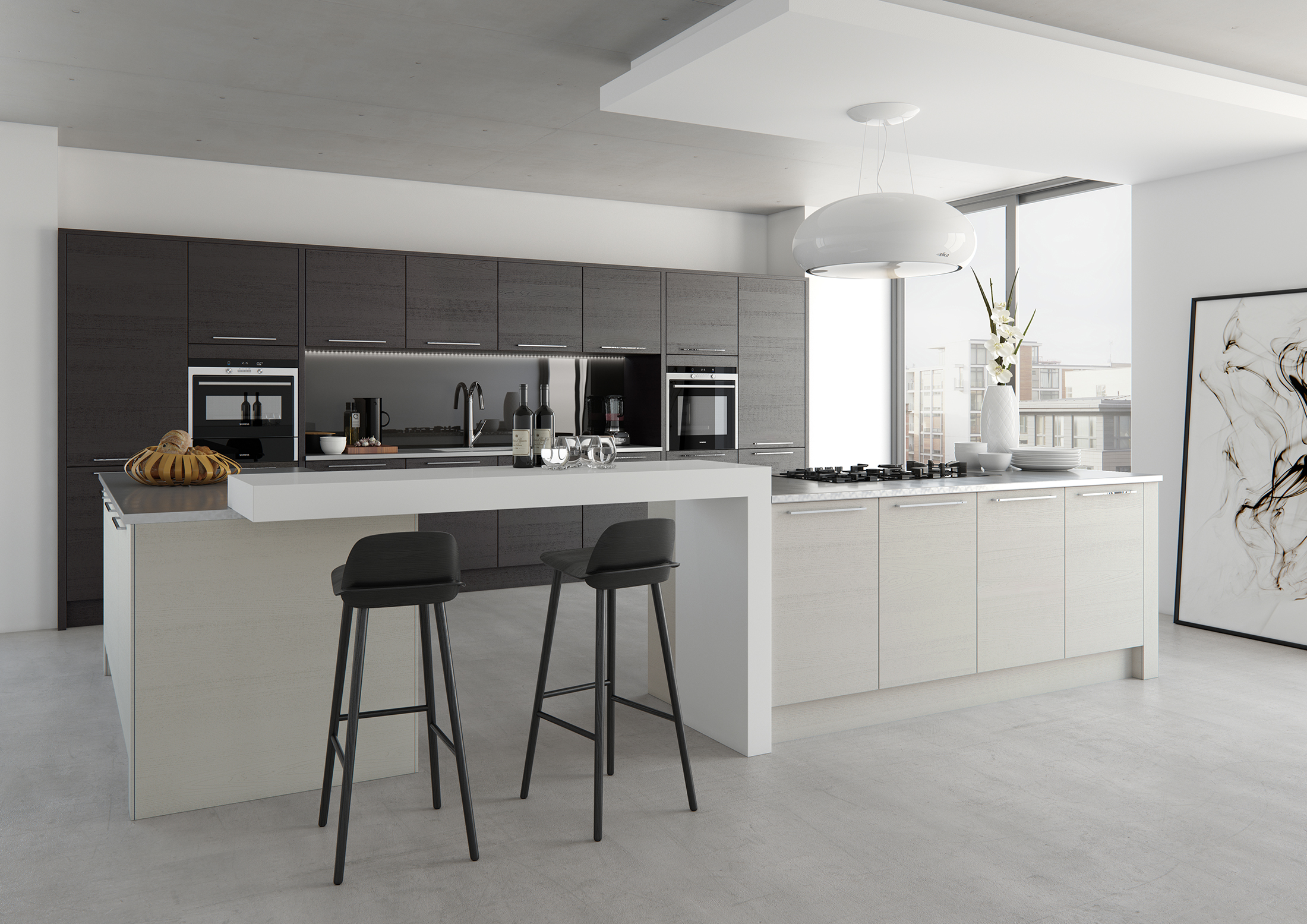 Tavola - Stained Hacienda Black With Painted Light Grey (Available In 21 Paint 6 Stain Colours)