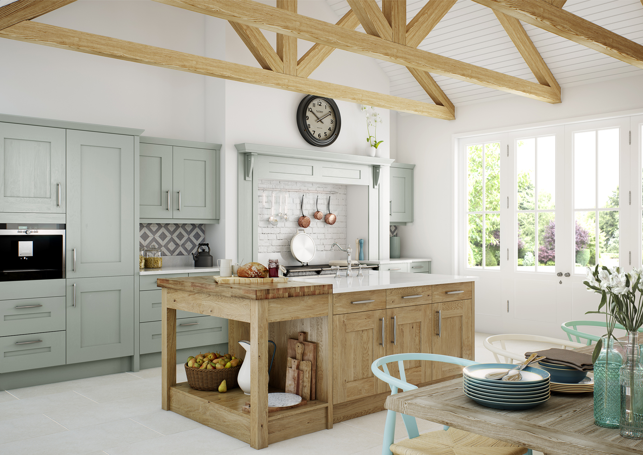 Clonmel - Powder Blue Painted & Knotty Oak (Available In 21 Standard Colours & Bespoke Colours)