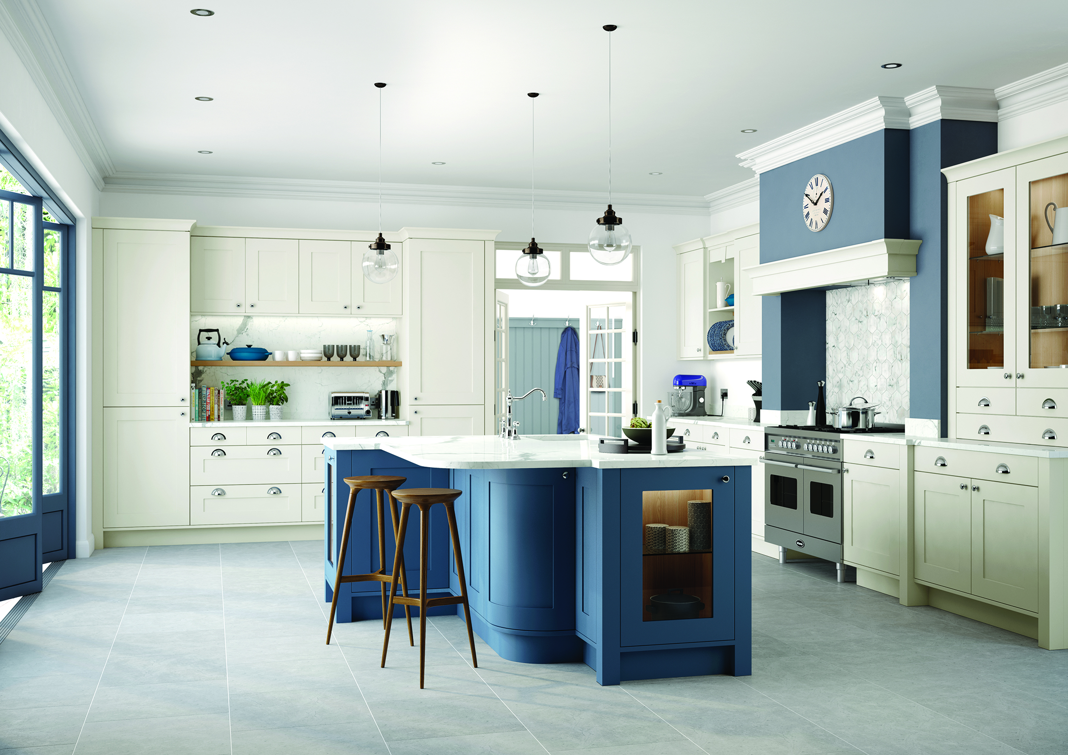 Georgia – Painted Ivory & (Bespoke Blue) (Available In 21 Standard Colours & Bespoke Colours)