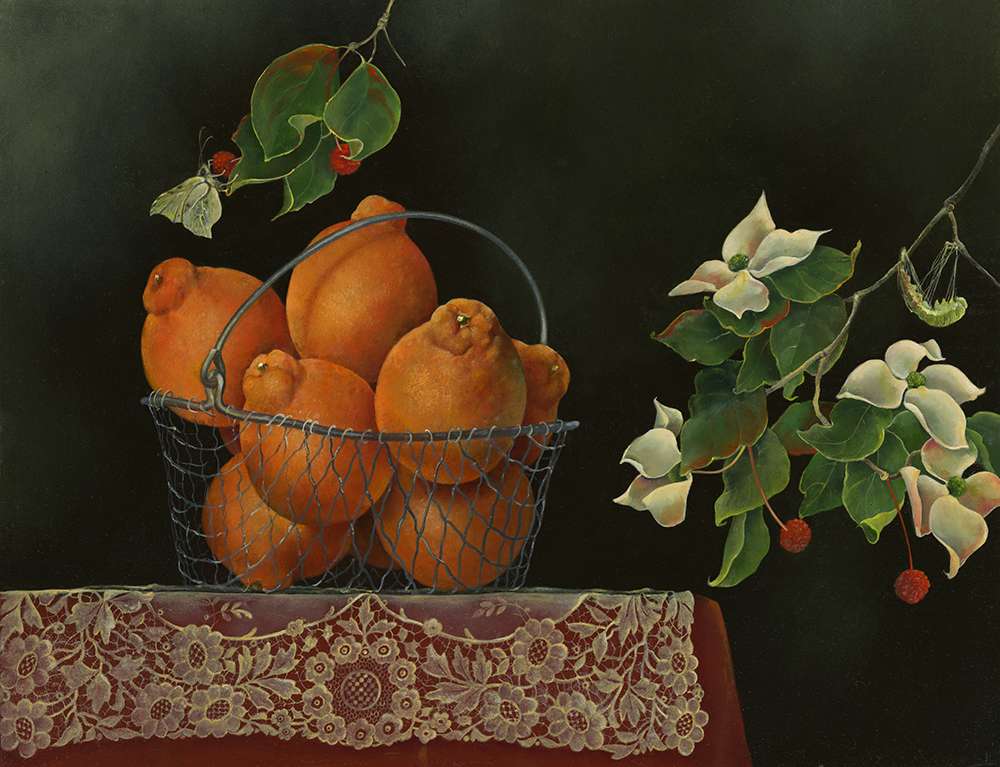"""Wire Basket of Oranges with Dogwood Branches,  14"""" x 18"""", Oil on board"""