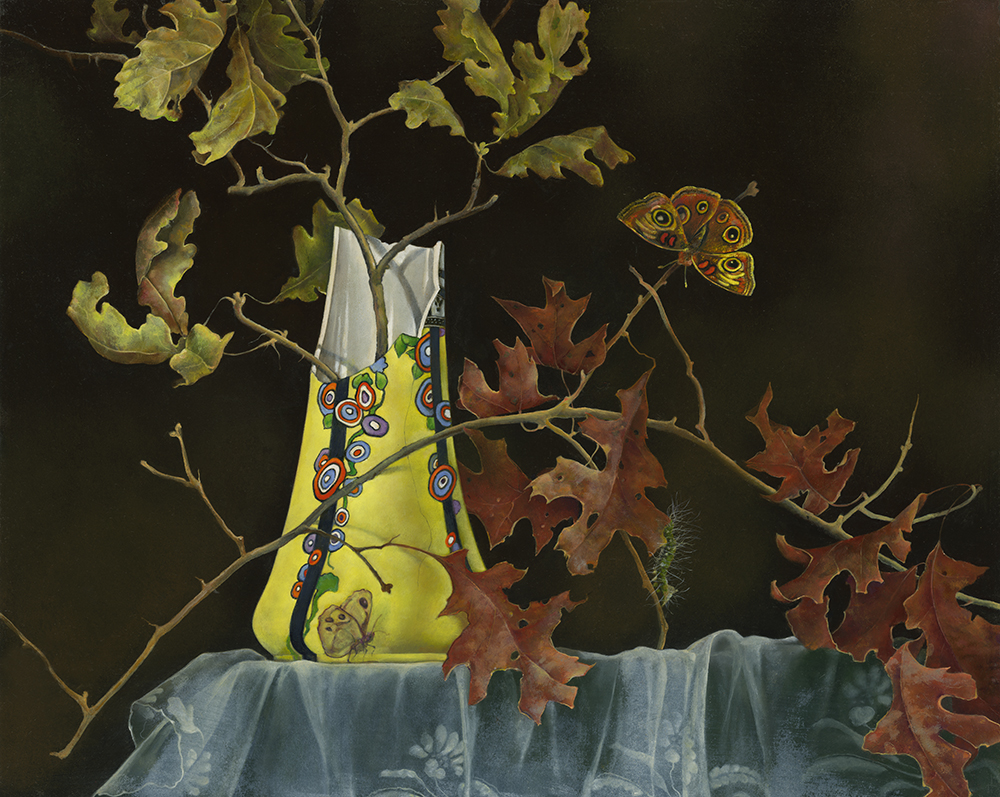 """Broken Yellow Vase with Oak Branches,  16"""" x 20"""", Oil on board"""