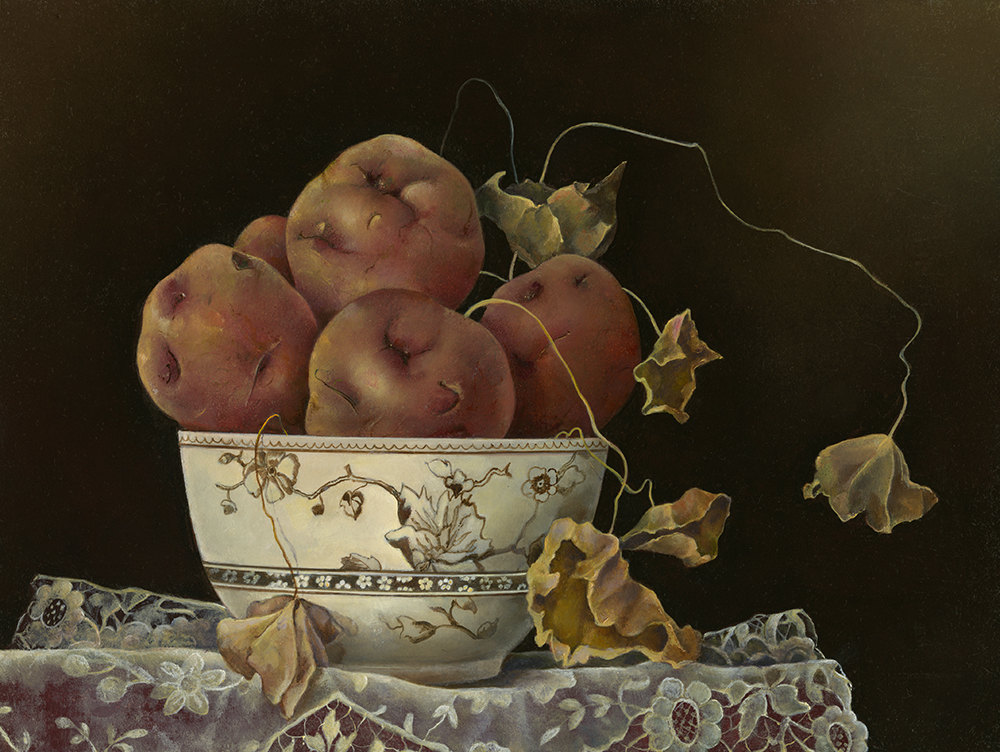 """Bowl of Red Potatoes with Dead Nasturtium Leaves,  9"""" x 12"""", Oil on board"""