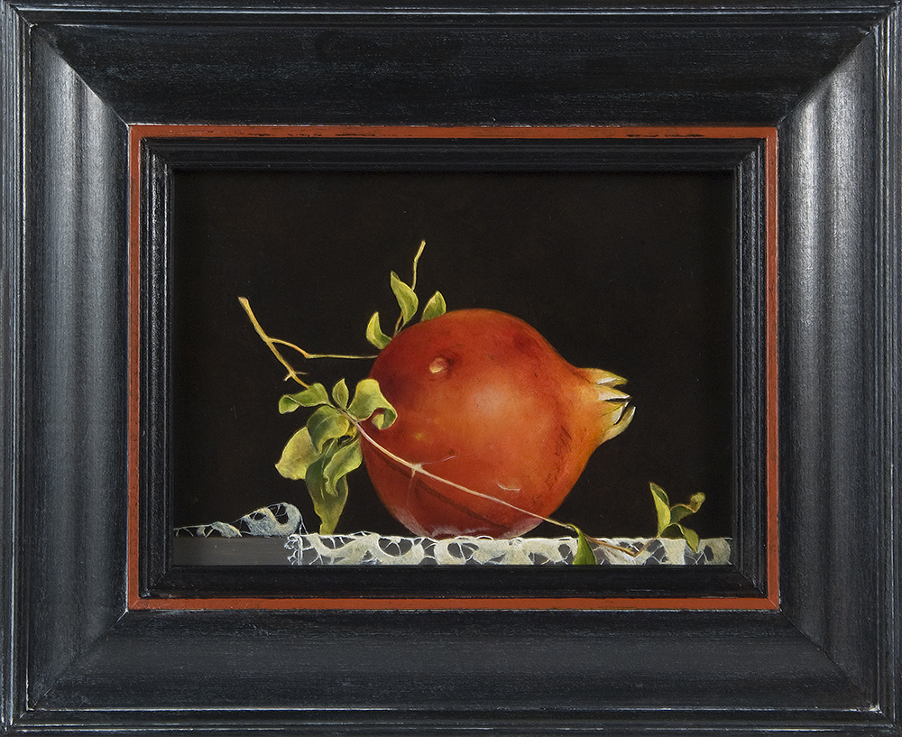 """Pomegranate on Lace,  5"""" x 7"""", Oil on board"""