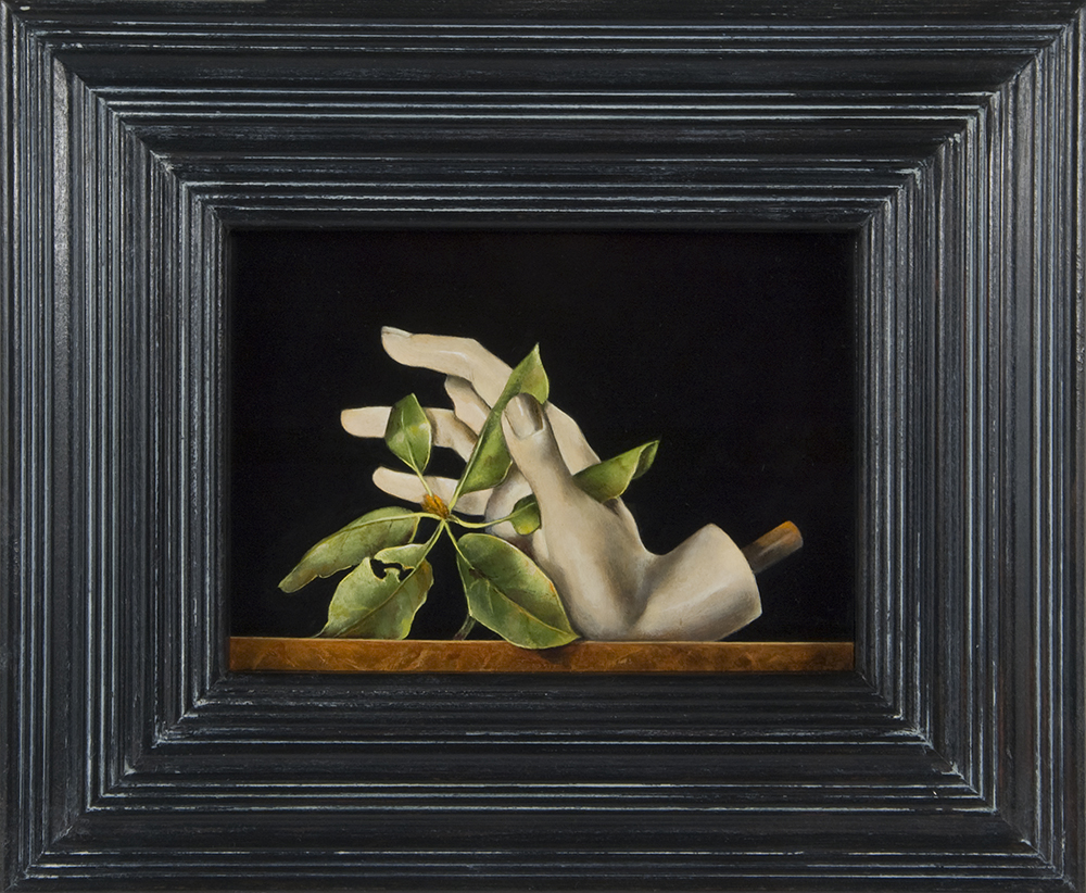 """Mannequin Hand with Rhododendron Branch,  5"""" x 7"""", Oil on board"""