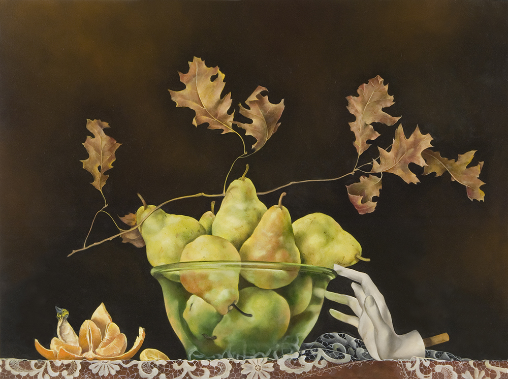 "Glass Bowl of Pears with Mannequin Hand,  18"" x 24"", Oil on board"