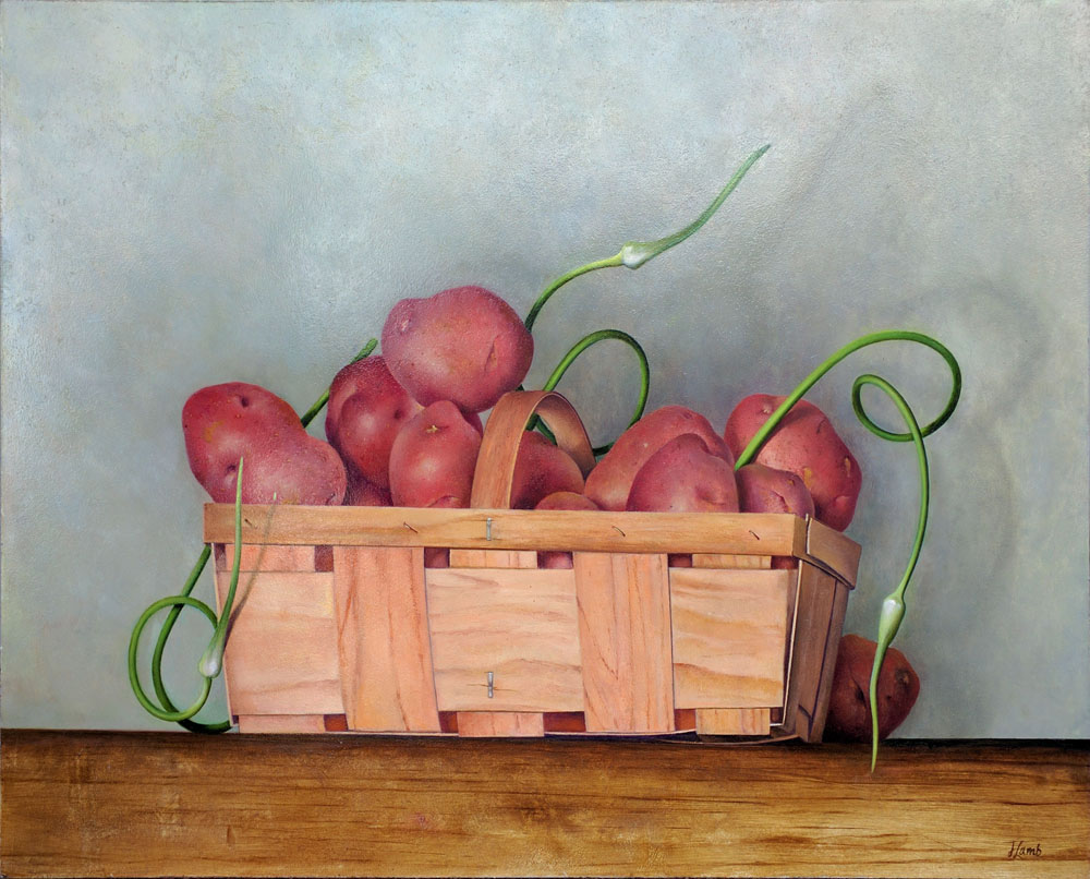 "Basket of Red Potatoes with Scapes,  18"" x 24"", Oil on board"