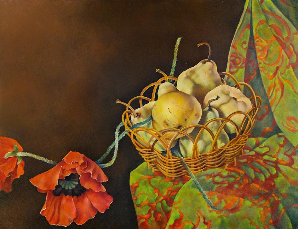 """Pears in Basket,  14"""" x 18"""", Oil on board"""