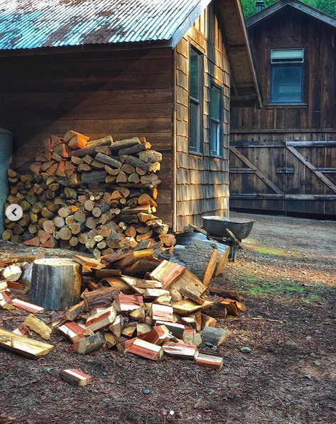 Two wooden cabins with a pile of stacked fire wood against one wall, and a pile of freshly chopped firewood waiting to be stacked.