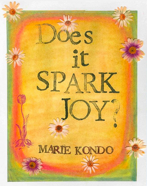 "An art print of the quote ""Does it spark joy?� from Marie Kondo, on an orange background framed by a green border with flowers scattered around the image."