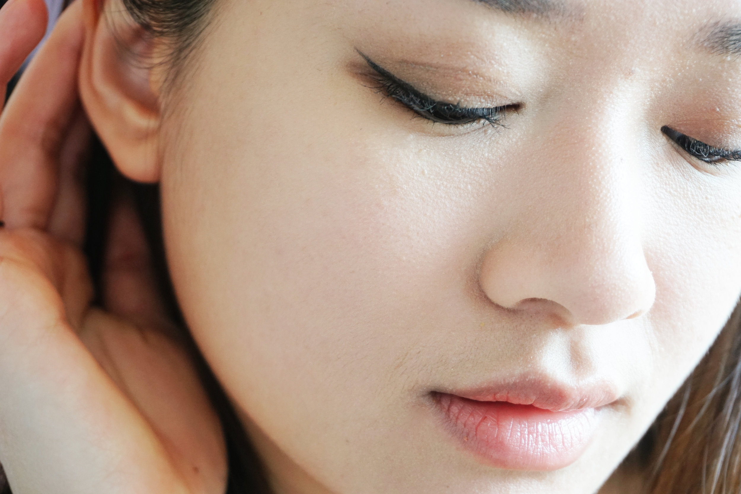 Face with a light layer of Bye Bye Redness