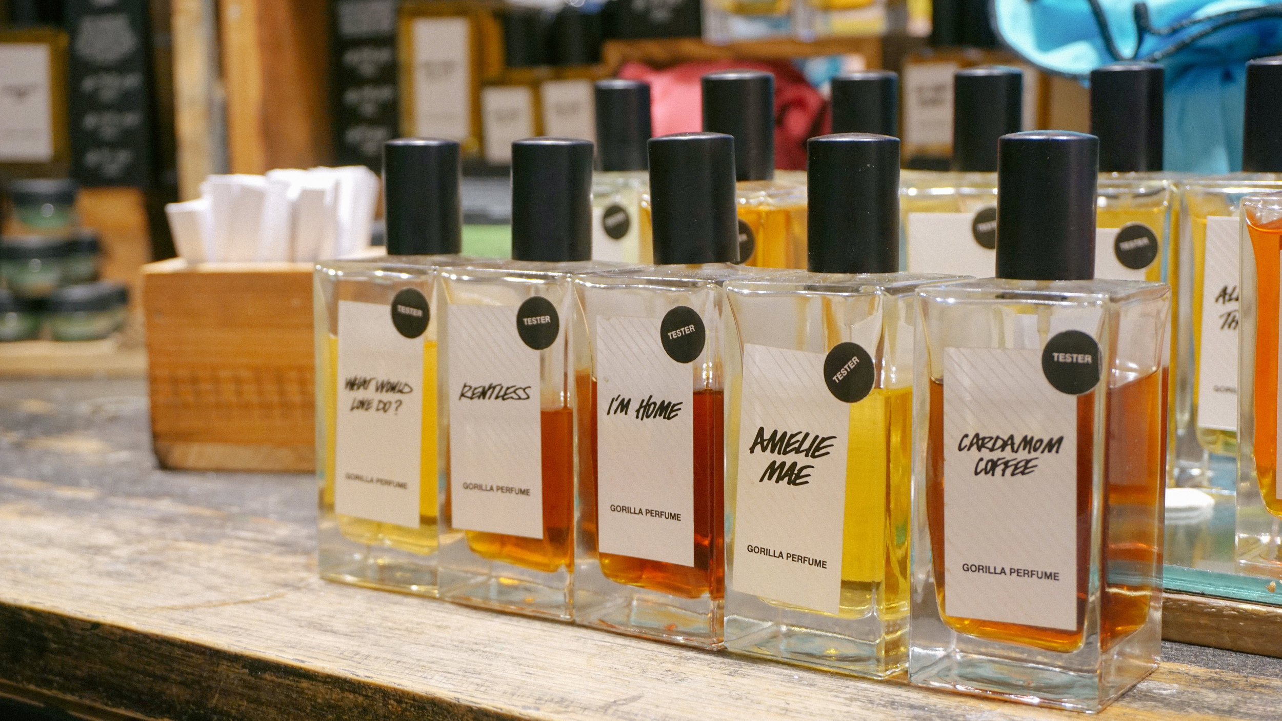 Gorilla Perfumes Volume IV (from left to right):  What Would Love Do? ,  Rentless ,  I'm Home ,  Amelie Mae ,  Cardamom Coffee
