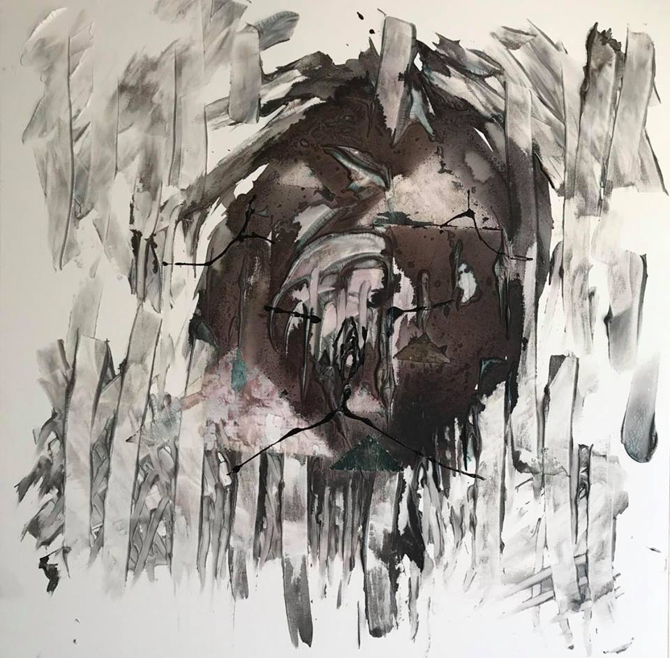 AGONY OF ECSTASY   Materials: ink, watercolor, coffee, nail polish and acrylic medium  40 x 40 x1.25 inches     CONTRA GALLERY 2018
