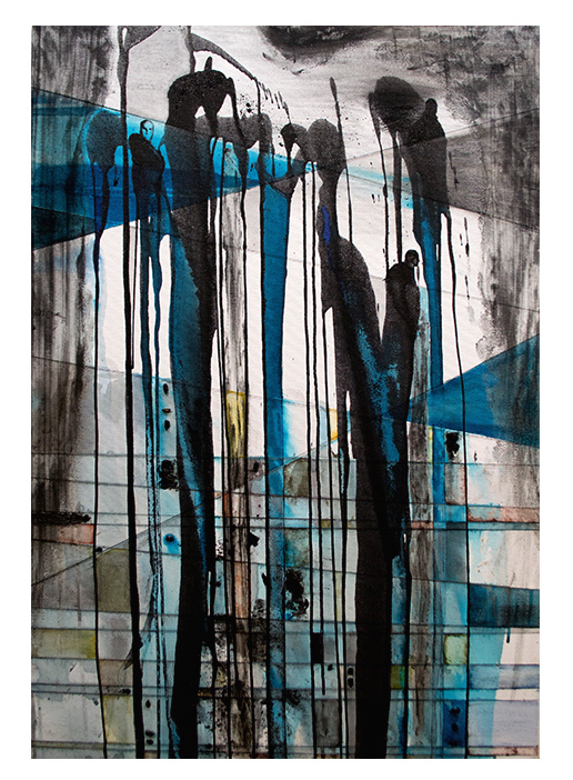 DO YOU REALIZE    (SOLD) LOS ANGELES, CALIFORNIA   Mixed Media on Canvas; Ink, Plaster cloth, coffee, whiskey, berries, acrylic medium, sewing string, water color.  24 X 36 Inches  JANUARY 2016   Sido Gallery 2016