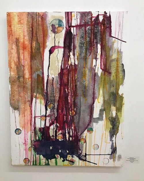 UNE ANNE SANS LUMIERE   Mixed Media on Canvas; Ink, Plaster cloth, coffee, whiskey, berries, acrylic medium, sewing string, water color.  30 X 40 Inches  NOVEMBER 2016     Pivot Gallery 2016    Contra Gallery 2018