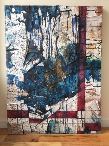STRANGERS   Mixed Media on Canvas; ink, string, watercolor, acrylic medium, coffee, whiskey, acrylic paint.  30 X 40 Inches  SEPTEMBER 2017     Life is beautiful 2017    Contra Gallery 2018