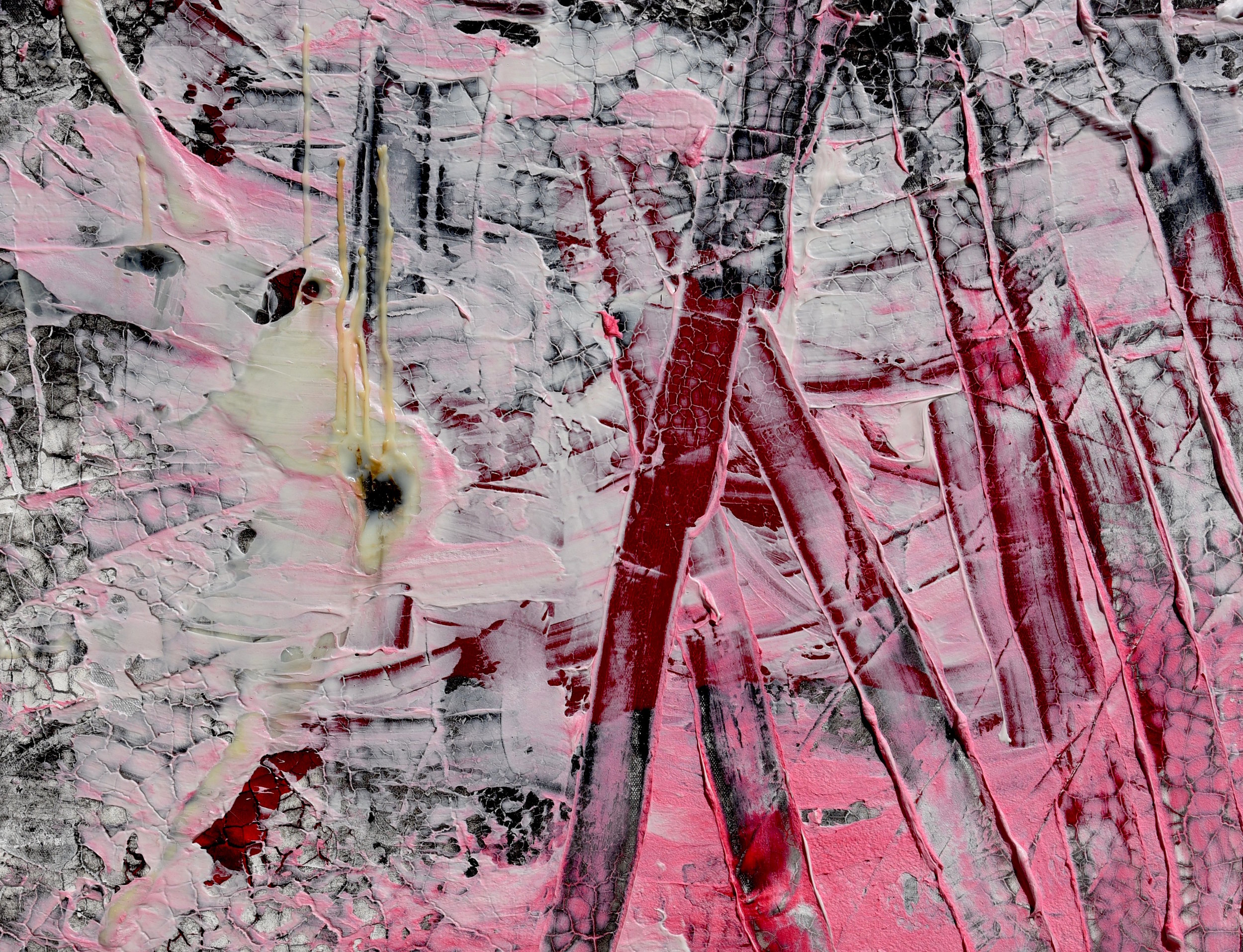 BETWEEN THE BARS    (SOLD) NEW YORK, NEW YORK   Mixed Media on canvas; ink, water color, spray paint, acrylic medium, blood.  24 X 30 Inches  APRIL 2017