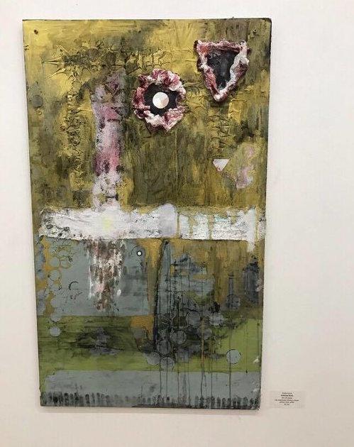 DELERIUM WALTZ   Mixed Media on Canvas; acrylic medium, ink, watercolor, nail polish, coffee.  24 X 48 Inches  OCTOBER 2016     Pivot Gallery 2016    Contra Gallery 2018