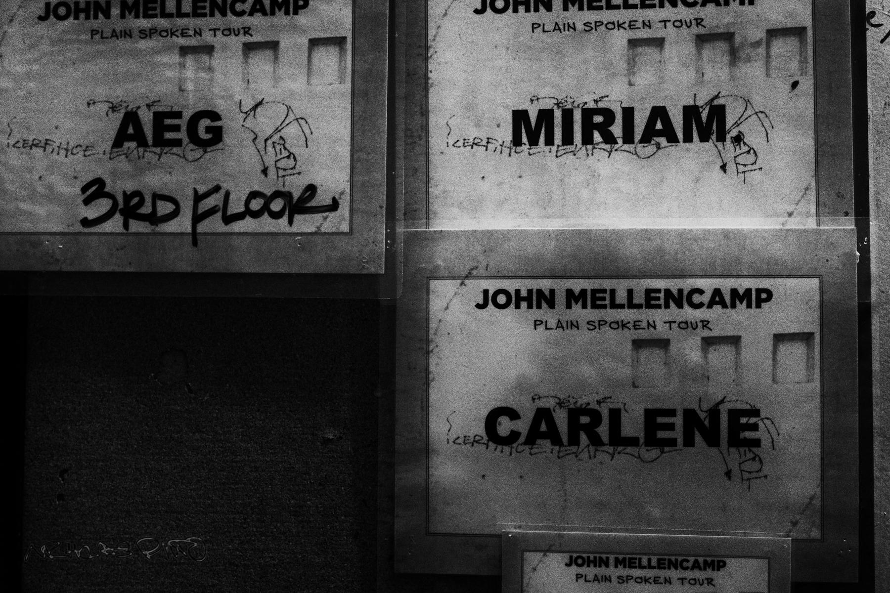Signage backstage.