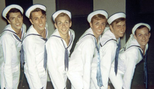 Kurt (second from right) and Tommy Tune (far left)