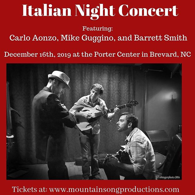 Enjoy a night of Italian folk music at the Porter Center in Brevard, NC presented by Mountain Song Productions on December 16th! Featuring Italian mandolinist @aonzocarlo @mikeguggino and @barrettnow1320 Tickets and info at the link in our bio. #italiannight #tworangersplayitalian