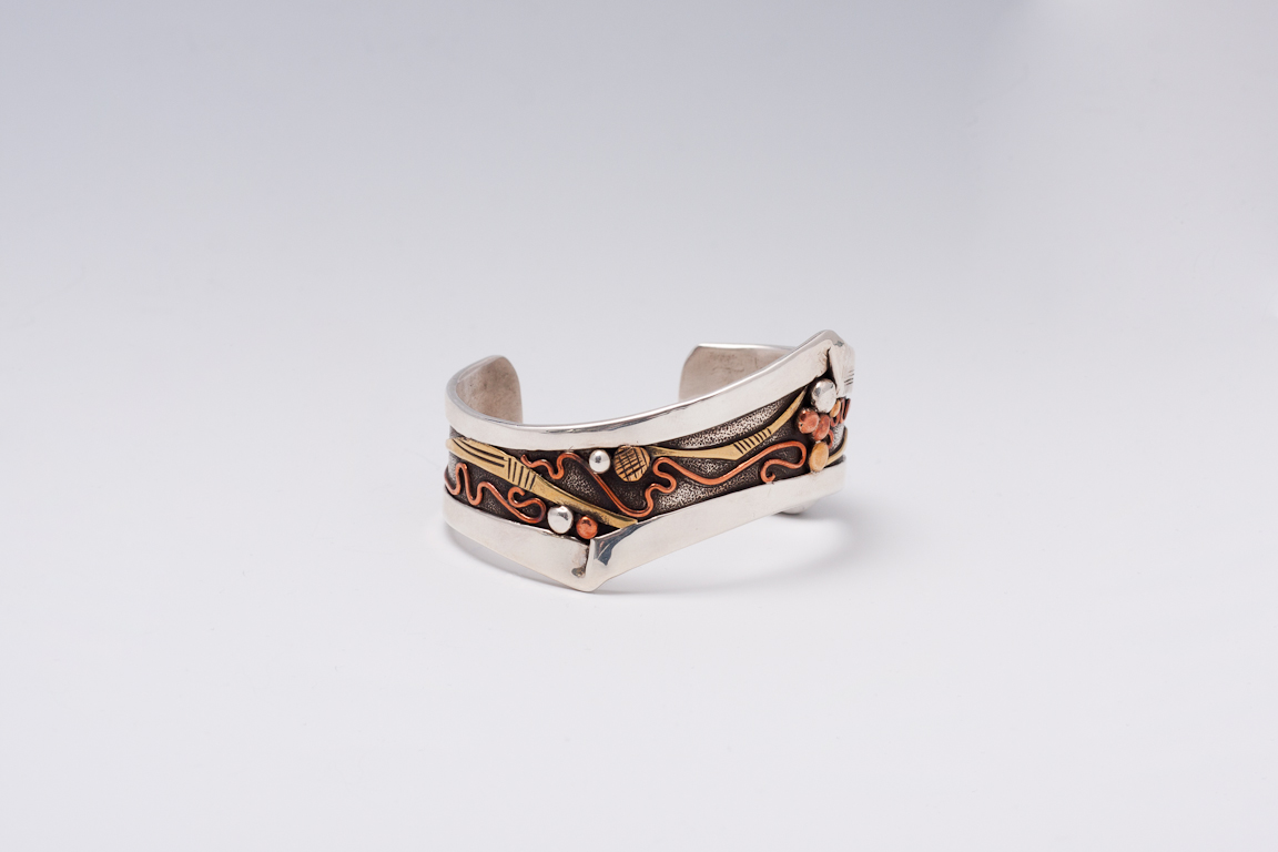 Silver Bracelet with Copper and Brass Detail