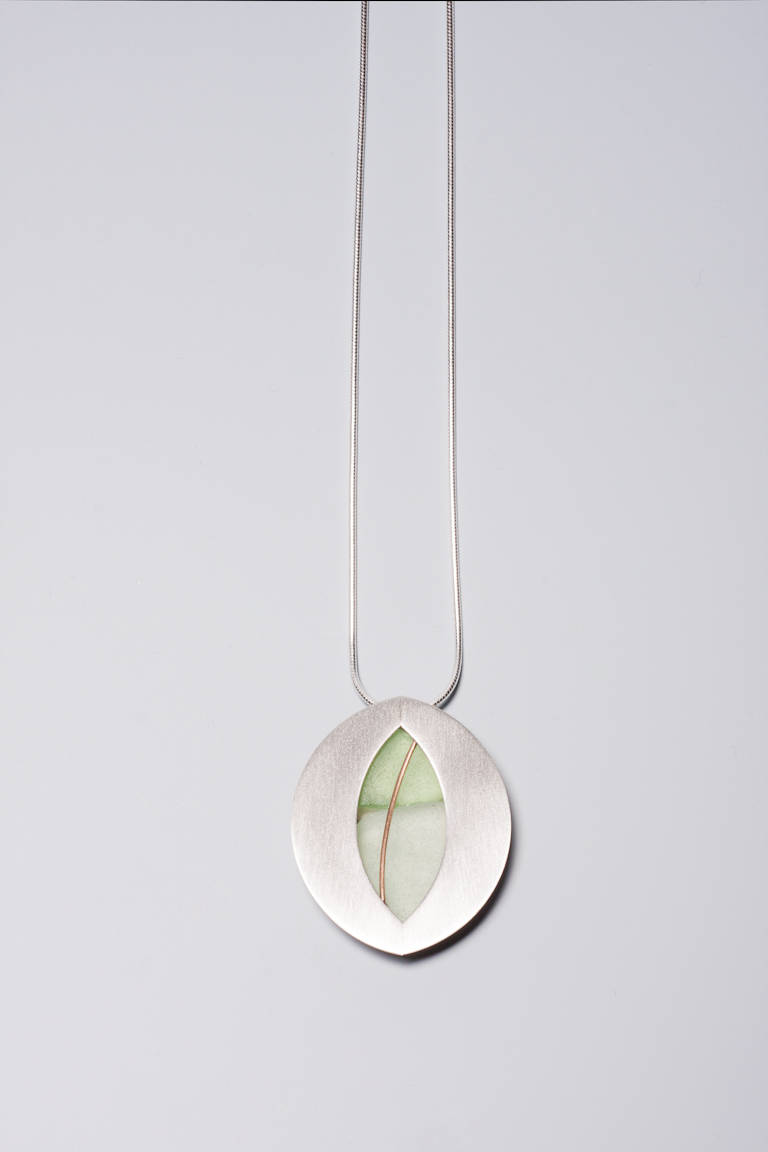 Sea Glass and Brushed Sterling Silver Necklace