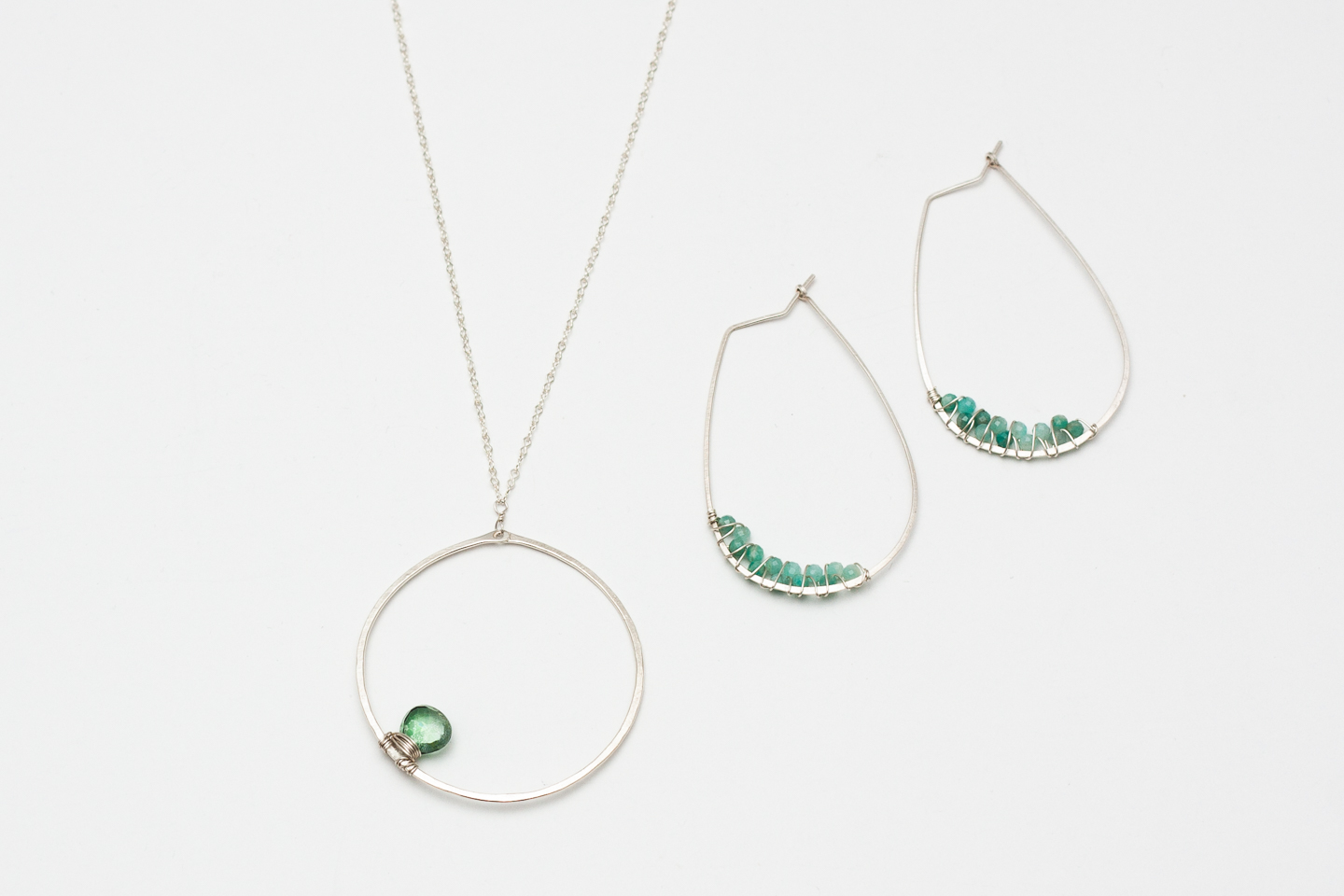 Topaz Hoops and Necklace