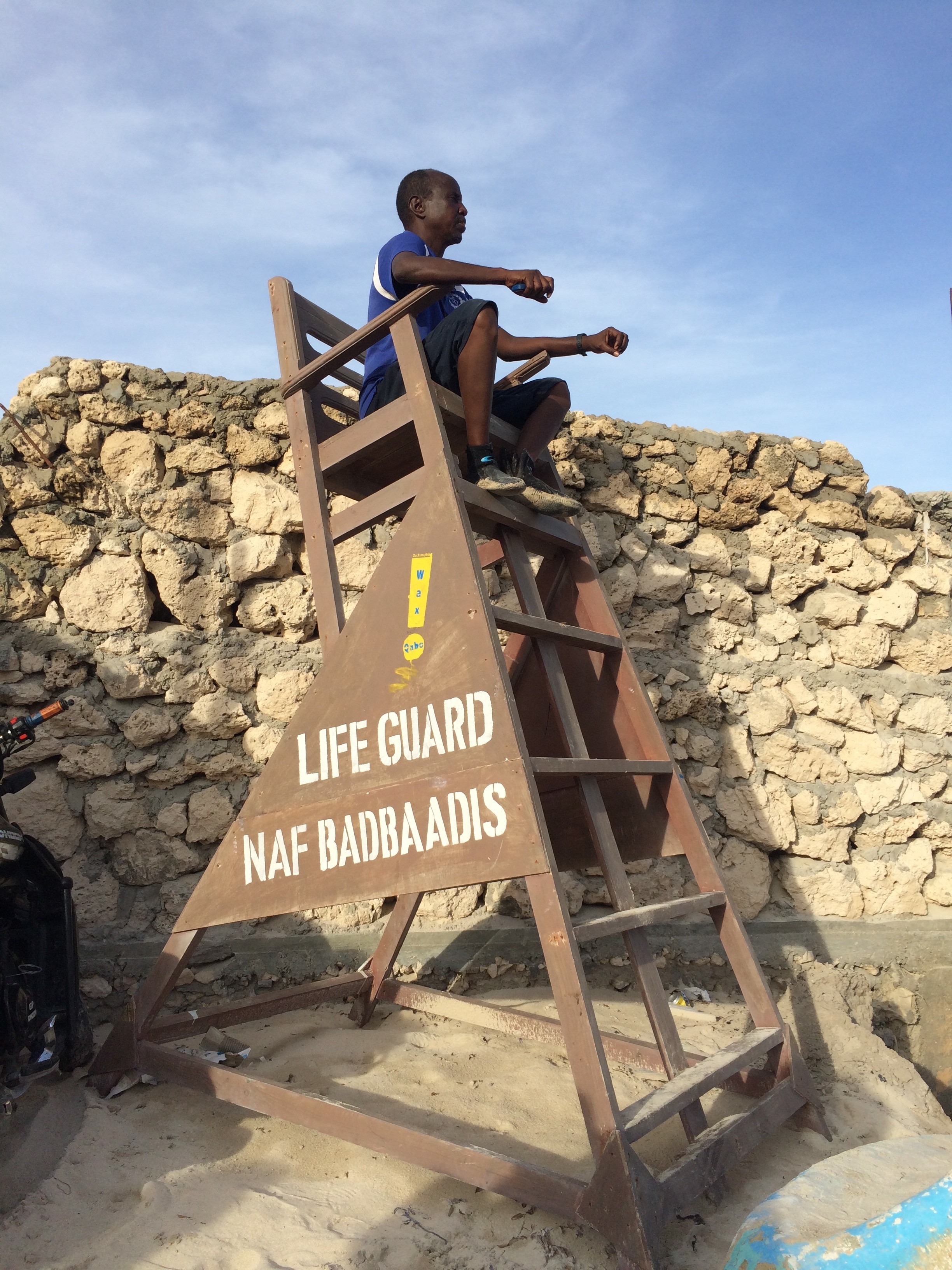 Lifeguard at Lido Beach, Mogadishu - 2015