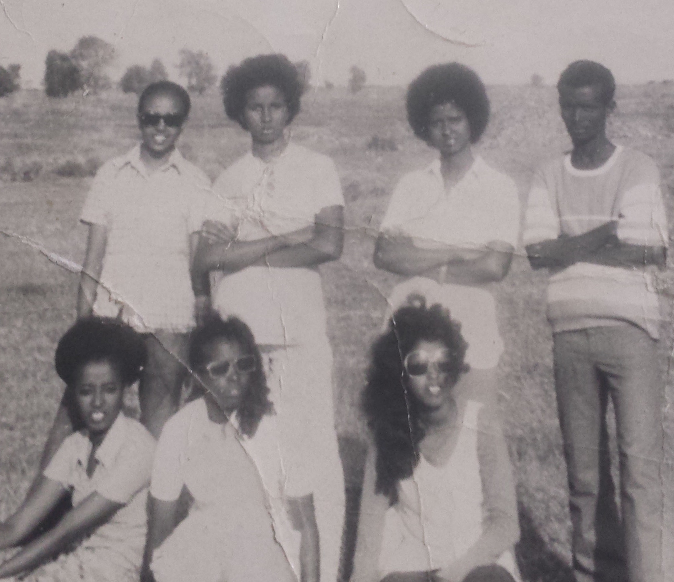 Shamis (standing, second from right) and friends teaching Somali script - 1974