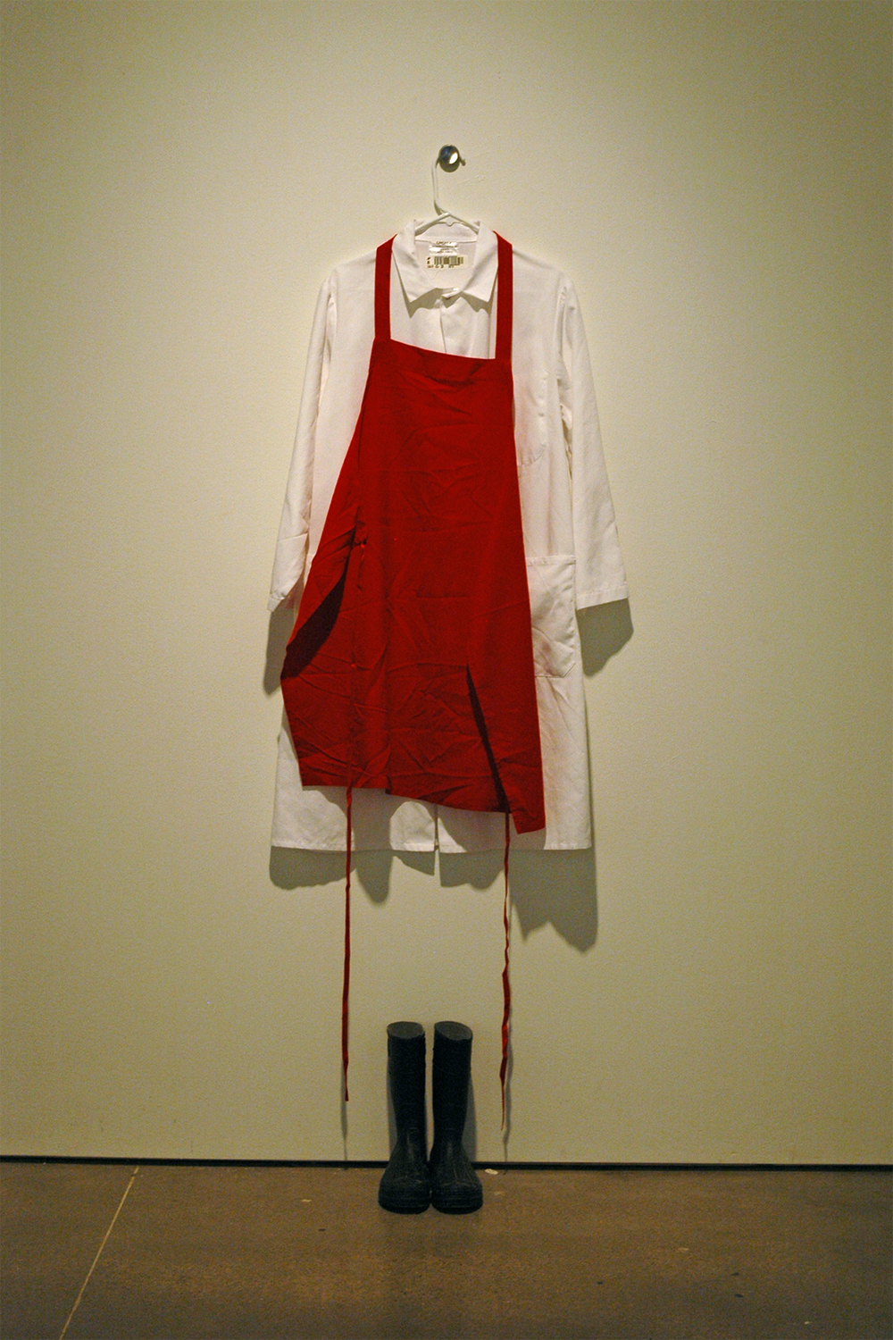 (2014)  Smock, Red Apron, Coat Hanger and Rubber Boots