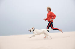 Dog running with person