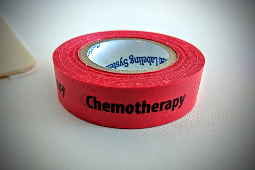 Red tape with chemotherapy written on it