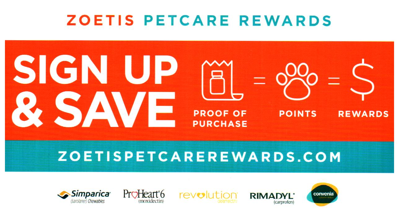 Earn rewards with each purchase of an eligible Zoetis product. Use these rewards to pay for any product or service at your pet's next visit to the veterinarian.