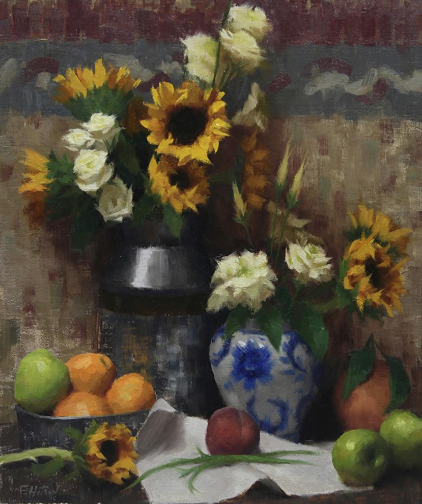 Zac Elletson, Gallery Representation Finalist, Sunflowers and Fruit