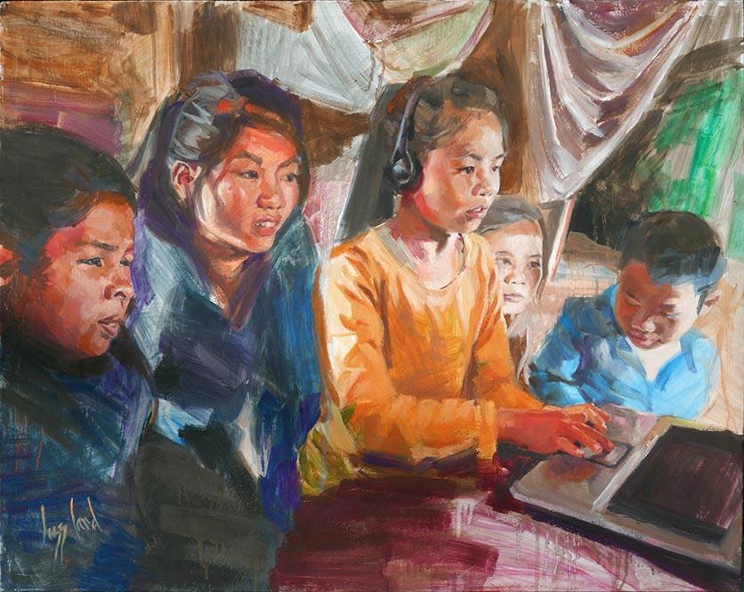 Lizz Card, Budding Artist Winner, Five Children and a Computer in Muangsing