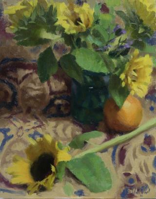 Zac Elletson, Emerging Artist Winner, Sunflowers on Antique Rug