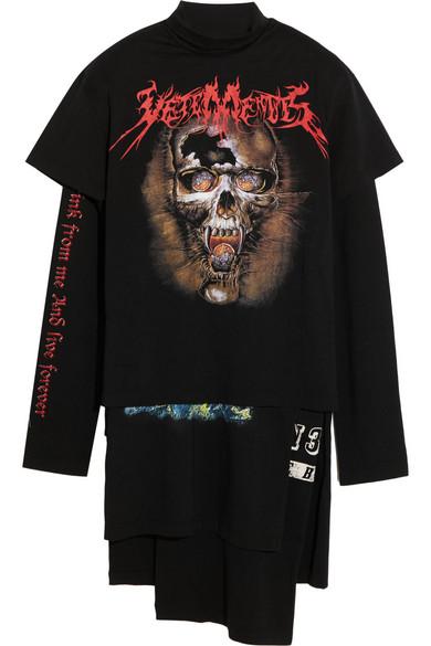 Vetements Layered Printed Cotton-Jersey T-shirt Dress
