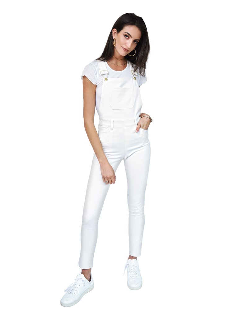 Second Skin Overalls White High Rise Skinny