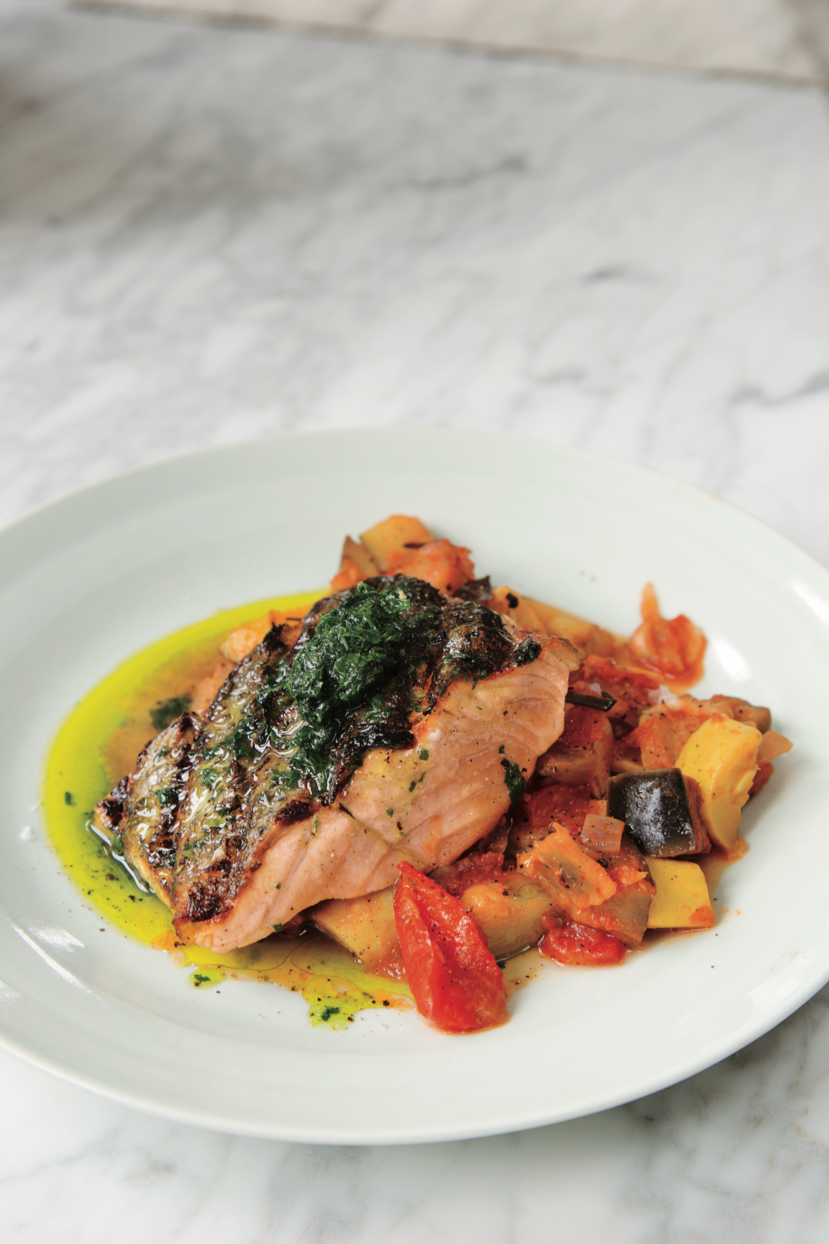 Grilled Salmon with Parsley Pistou