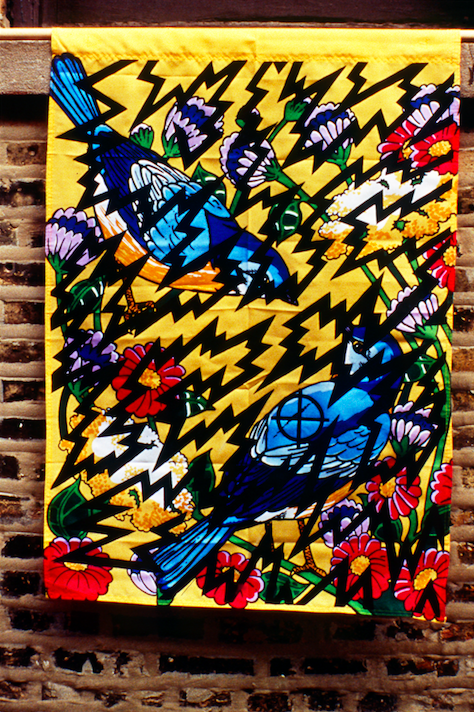 Tension in the Air, 2000. 28.5 x 45 inches; nylon, acrylic.