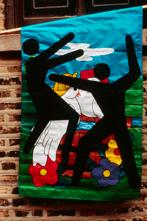 Fighting Couple, 1998 - 1999. 28.5 x 45 inches; nylon, acrylic.