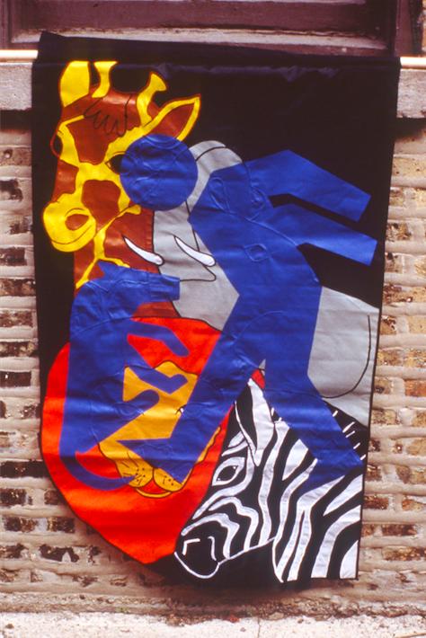 Dog Kicker, 1998 - 1999. 28.5 x 45 inches; nylon, acrylic.