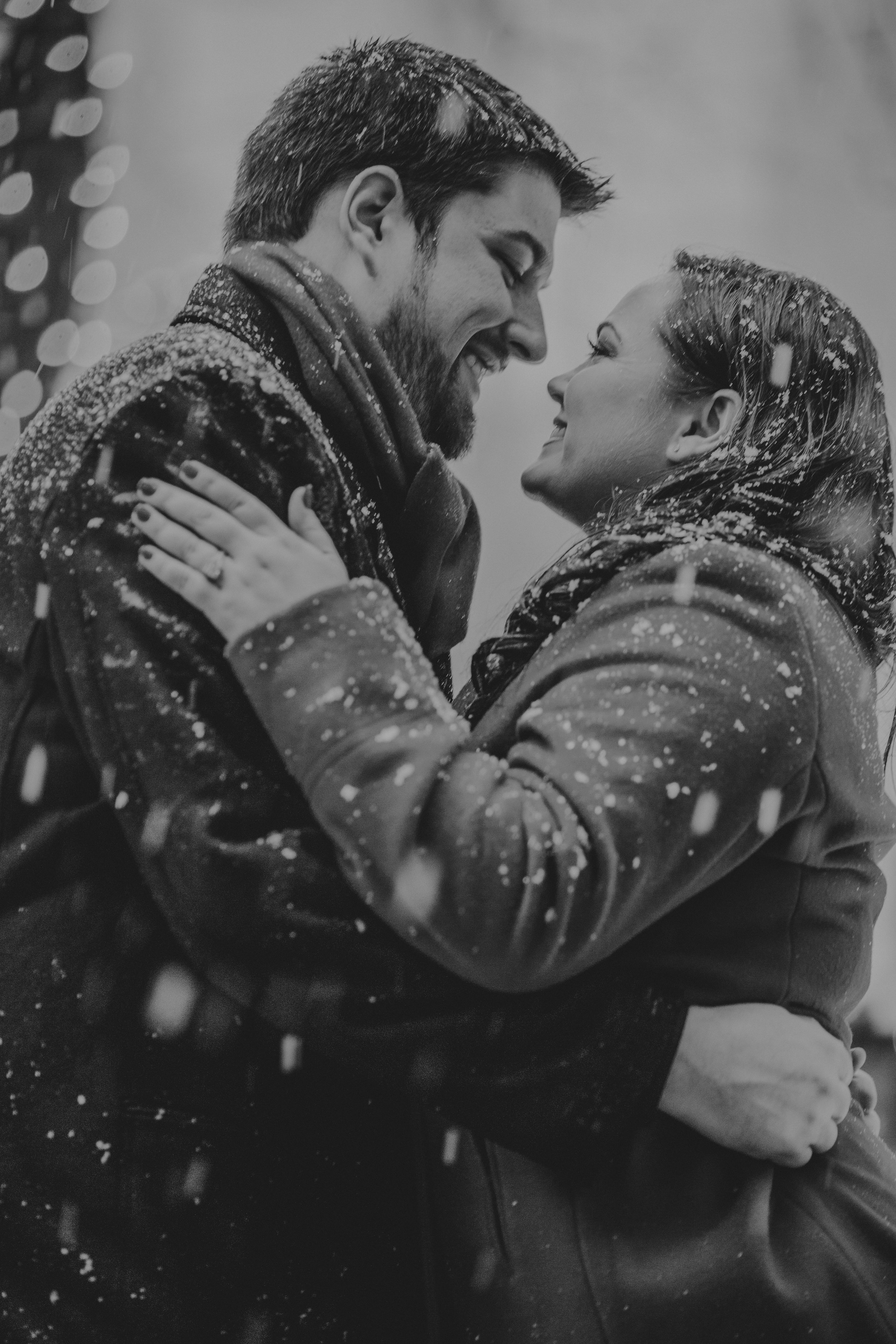 Sometimes snow can make it more romantic with engagement sessions.