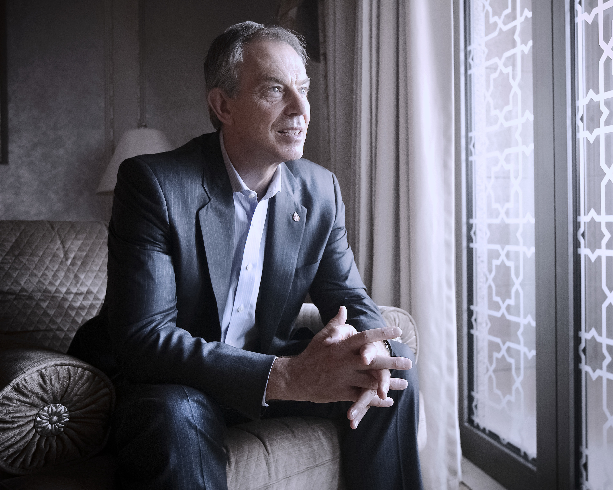 Former UK Prime Minister Tony Blair inside of the Emirates Palace in Abu Dhabi.