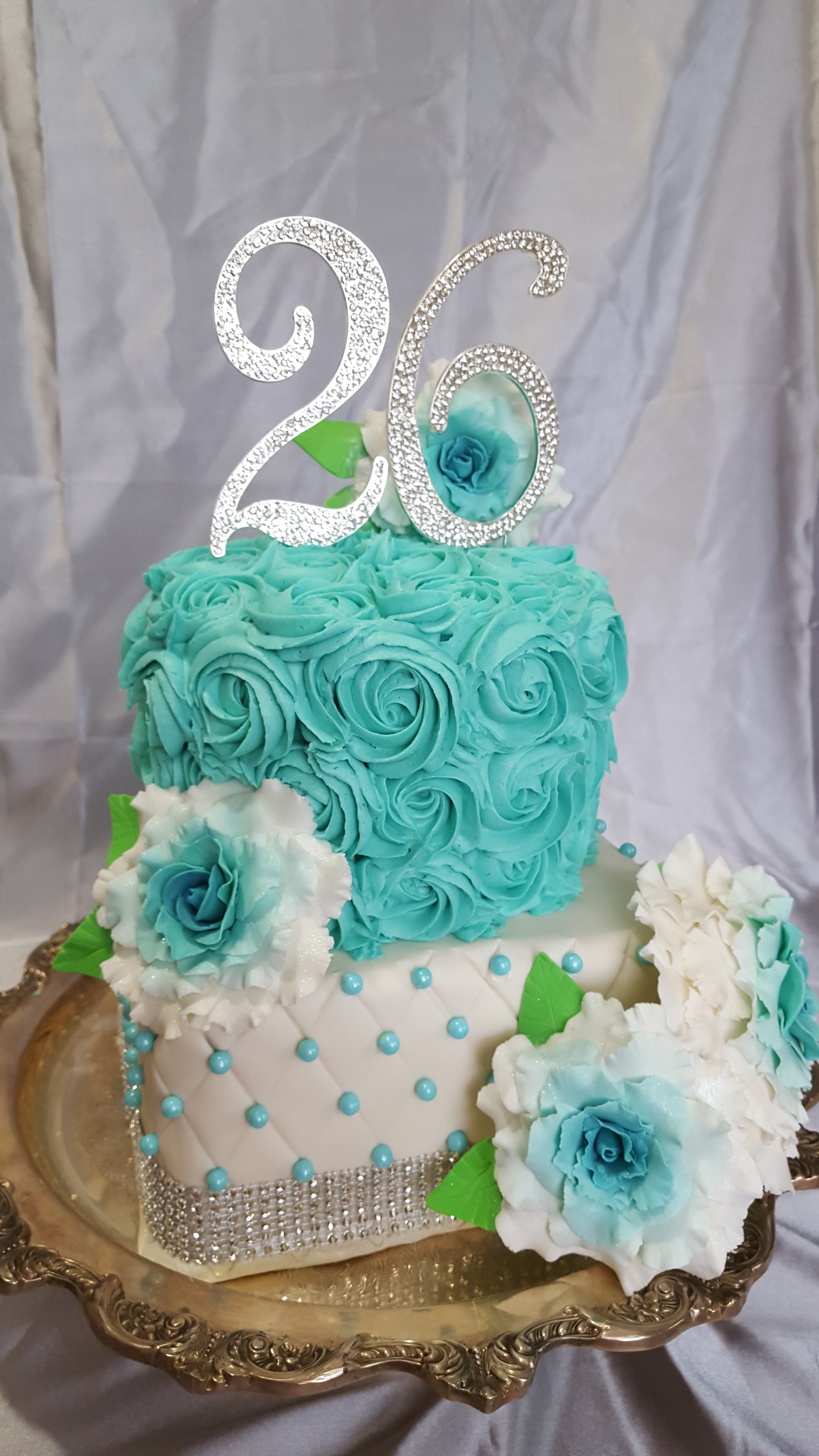 Rosette Buttercream Cake over Quilted Fondant Cake with Edible Gumpaste Roses